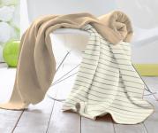 Baretti Baumwolldecke  Streifen beige